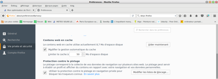 optimisation mémoire firefox