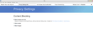 min browser réglages